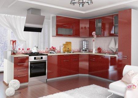 Кухня Глянцевая гранат