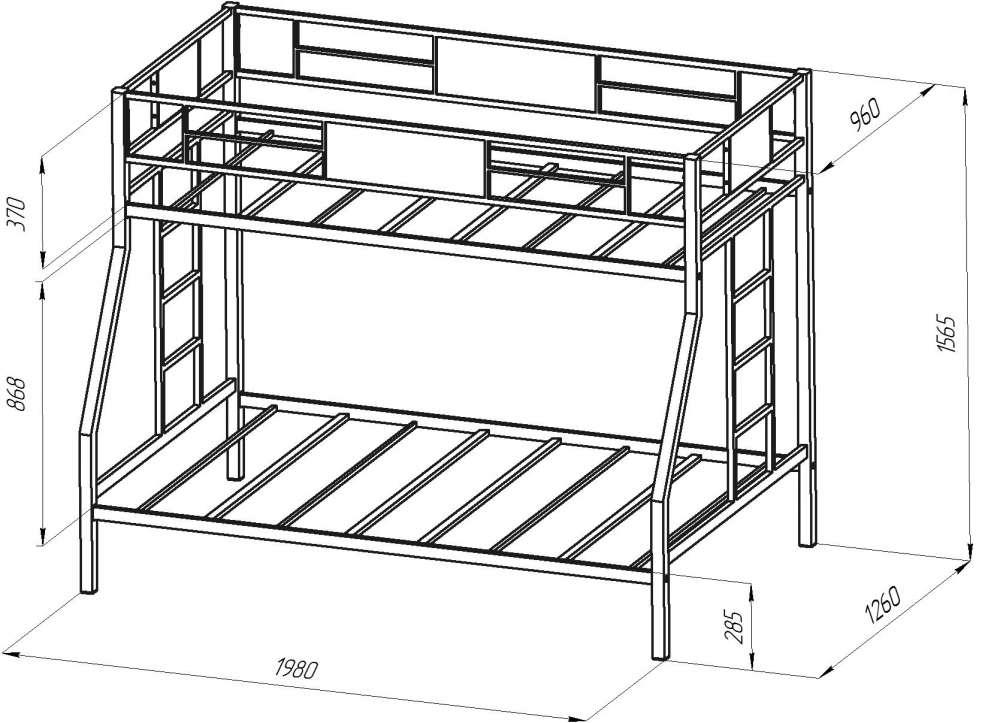 Двухъярусная кровать из профильной трубы своими руками чертежи 39